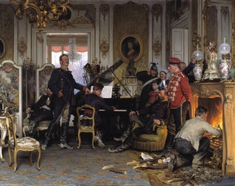 A Billet outside Paris by Anton von Werner Home Decor Wall Decor Giclee Art Print Poster A4 A3 A2 Large Print FLAT RATE SHIPPING