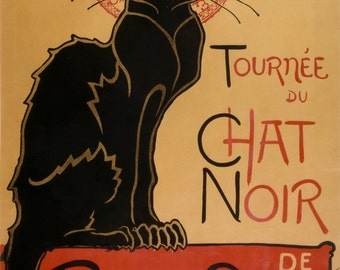 Chat Noir Black Cat by Théophile-Alexandre Steinlen Home Decor Wall Decor Giclee Art Print Poster A4 A3 A2 Large Print FLAT RATE SHIPPING