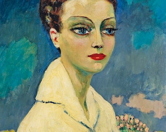 Femme a la Blouse Blanche by Kees van Dongen Home Decor Wall Decor Giclee Art Print Poster A4 A3 A2 Large Print FLAT RATE SHIPPING