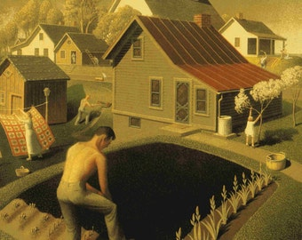 Spring In Town by Grant Wood Home Decor Wall Decor Giclee Art Print Poster A4 A3 A2 Large Print FLAT RATE SHIPPING