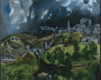 View of Toledo by El Greco Home Decor Wall Decor Giclee Art Print Poster A4 A3 A2 Large Print FLAT RATE SHIPPING