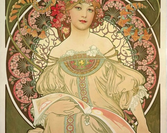 Art Nouveau Poster Champagne by Mucha Home Decor Wall Decor Giclee Art Print Poster A4 A3 A2 Large Print FLAT RATE SHIPPING