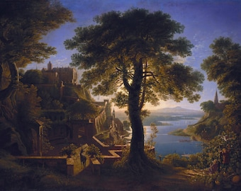 Castle by the River by Karl Friedrich Schinkel Home Decor Wall Decor Giclee Art Print Poster A4 A3 A2 Large Print FLAT RATE SHIPPING