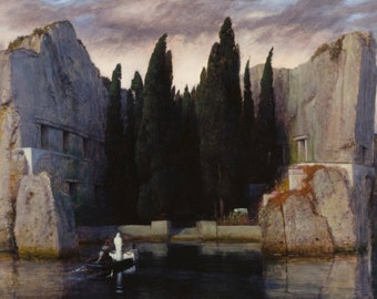 Die Toteninsel by Arnold Böcklin Home Decor Wall Decor Giclee Art Print Poster A4 A3 A2 Large Print FLAT RATE SHIPPING
