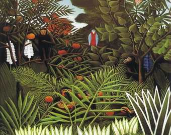 Exotic Bird and Monkey by Henri Rousseau Home Decor Wall Decor Giclee Art Print Poster A4 A3 A2 Large Print FLAT RATE SHIPPING