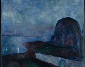 Starry Night by Edvard Munch Home Decor Wall Decor Giclee Art Print Poster A4 A3 A2 Large Print FLAT RATE SHIPPING