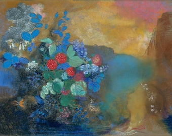 Among the Flowers by Odilon Redon Home Decor Wall Decor Giclee Art Print Poster A4 A3 A2 Large FLAT RATE SHIPPING