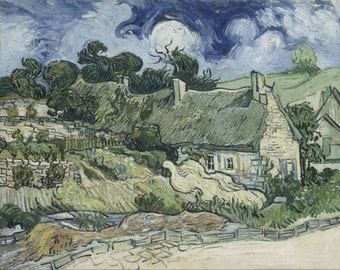 Thatched Cottages at Cordeville by Vincent Van Gogh Home Decor Wall Decor Giclee Art Print Poster A4 A3 A2 Large Print FLAT RATE SHIPPING