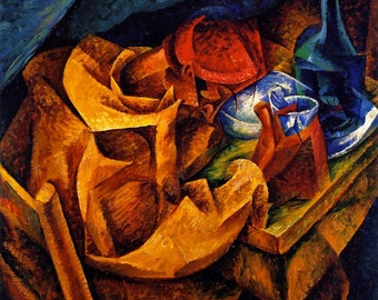 Cubism Art Print The Drinker by Umberto Boccioni Art Print Wall Decor Giclee Home Decor A4 A3