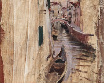 A Venetian Canal by Giovanni Boldini Art Print Wall Art Poster Giclee Wall Decor Home Fine Art