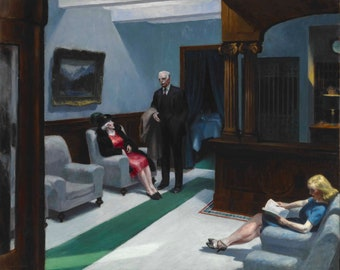 American Hotel by Edward Hopper Home Decor Wall Decor Giclee Art Print Poster A4 A3 A2 Large Print FLAT RATE SHIPPING