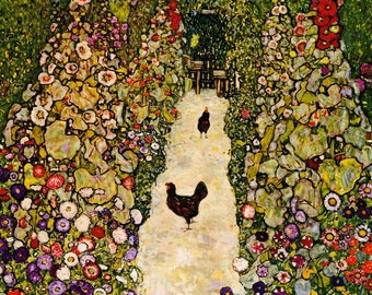 Garden Path With Chicken by Gustav Klimt  Home Decor Wall Decor Giclee Art Print Poster A4 A3 A2 Large Print FLAT RATE SHIPPING