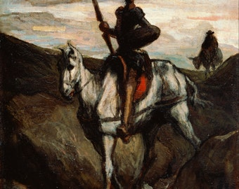 Don Quixote in the Mountains by Honore Daumier Home Decor Wall Decor Giclee Art Print Poster A4 A3 A2 Large Print FLAT RATE SHIPPING