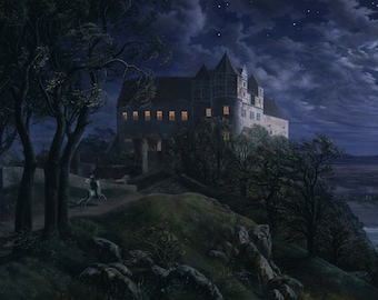 Burg Scharfenberg at Night by Ernst Ferdinand Oehme Home Decor Wall Decor Giclee Art Print Poster A4 A3 A2 Large Print FLAT RATE SHIPPING