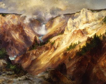 Grand Canyon of the Yellowstone by Thomas Moran Decor Wall Decor Giclee Art Print Poster A4 A3 A2 Large FLAT RATE SHIPPING