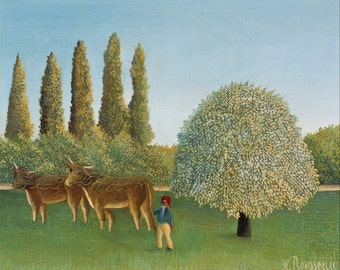 Meadowland by Henri Rousseau Home Decor Wall Decor Giclee Art Print Poster A4 A3 A2 Large Print FLAT RATE SHIPPING
