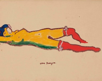 Nu Couche Aux Bas Rouges by Kees van Dongen Home Decor Wall Decor Giclee Art Print Poster A4 A3 A2 Large Print FLAT RATE SHIPPING