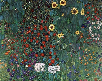 Country Garden with Sunflowers by Gustav Klimt Home Decor Wall Decor Giclee Art Print Poster A4 A3 A2 Large Print FLAT RATE SHIPPING