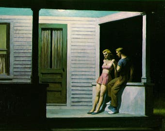 Summer Evening by Edward Hopper Home Decor Wall Decor Giclee Art Print Poster A4 A3 A2 Large Print FLAT RATE SHIPPING