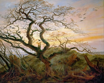 The Tree of Crows by Caspar David Friedrich Home Decor Wall Decor Giclee Art Print Poster A4 A3 A2 Large Print FLAT RATE SHIPPING
