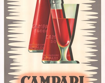 Campari Soda Advertising Poster by Franz Marangolo Home Decor Wall Decor Giclee Art Print Poster A4 A3 A2 Large Print FLAT RATE SHIPPING