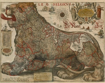Leo Belgicus by Hondius & Gerritsz Antique Map Home Decor Wall Decor Giclee Art Print Poster A4 A3 A2 Large Print FLAT RATE SHIPPING
