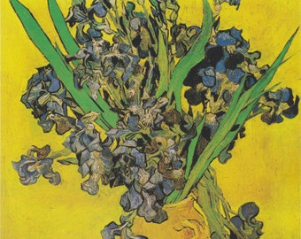 Vase with Iris by Vincent Van Gogh Home Decor Wall Decor Giclee Art Print Poster A4 A3 A2 Large Print FLAT RATE SHIPPING