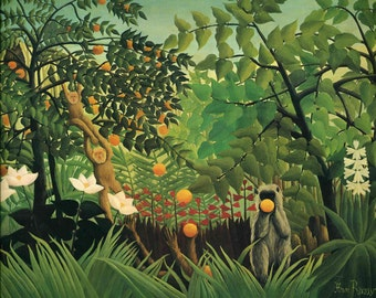 Exotic Landscape by Henri Rousseau Home Decor Wall Decor Giclee Art Print Poster A4 A3 FLAT RATE SHIPPING