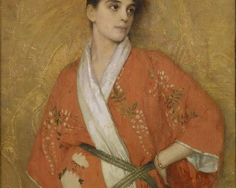 Gustave Courtois Young Woman in Kimono Home Decor Wall Decor Giclee Art Print Poster A4 A3 A2 Large Print FLAT RATE SHIPPING