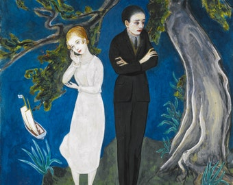 Young Man in Black, Girl in White by Nils von Dardel