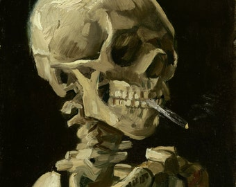 Skull with Burning Cigarette by Vincent Van Gogh Home Decor Wall Decor Giclee Art Print Poster A4 A3 A2 Large Print FLAT RATE SHIPPING