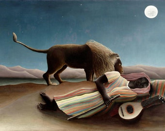 The Sleeping Gypsy by Henri Rousseau Home Decor Wall Decor Giclee Art Print Poster A4 A3 A2 Large Print FLAT RATE SHIPPING