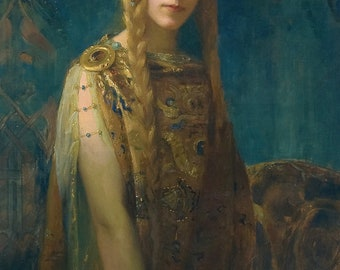 Isolde by Gaston Bussiere Home Decor Wall Decor Giclee Art Print Poster A4 A3 A2 Large FLAT RATE SHIPPING