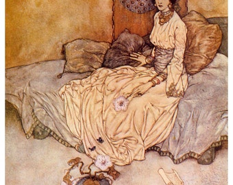 Princess of Deryabar by Edmund Dulac Home Decor Wall Decor Giclee Art Print Poster A4 A3 A2 Large FLAT RATE SHIPPING