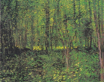 Trees and Undergrowth by Vincent Van Gogh Home Decor Wall Decor Giclee Art Print Poster A4 A3 A2 Large Print FLAT RATE SHIPPING
