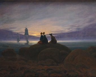 Moonrise by the Sea by Caspar David Friedrich Home Decor Wall Decor Giclee Art Print Poster A4 A3 A2 Large Print FLAT RATE SHIPPING