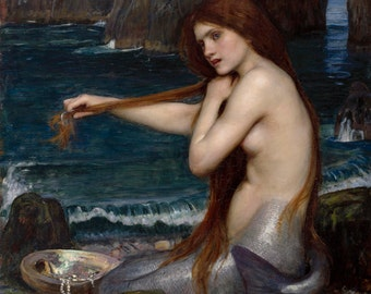 A Mermaid by John William Waterhouse Home Decor Wall Decor Giclee Art Print Poster A4 A3 FLAT RATE SHIPPING