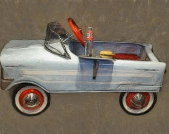 Antique Pedal Car by Michelle Calkins Wall Decor Giclee Art Print Poster A4 A3 A2 Large Print FLAT RATE SHIPPING