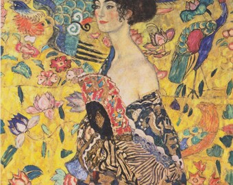 Lady with Fan by Gustav Klimt Home Decor Wall Decor Giclee Art Print Poster A4 A3 A2 Large Print Flat Rate Shipping