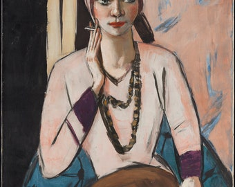 Quappi in Pink Jumper by Max Beckmann Home Decor Wall Decor Giclee Art Print Poster A4 A3 A2 Large Print FLAT RATE SHIPPING