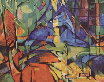 Deer in the Forest Two by Franz Marc Home Decor Wall Decor Giclee Art Print Poster A4 A3 A2 Large Print FLAT RATE SHIPPING