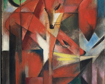 Art Print: Foxes by Franz Marc Home Decor Wall Decor Giclee Art Print Poster A4 A3 A2 Large Print FLAT RATE SHIPPING