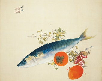Autumn Fattens Fish by Takeuchi Seiho Home Decor Wall Decor Giclee Art Print Poster A4 A3 A2 Large Print FLAT RATE SHIPPING
