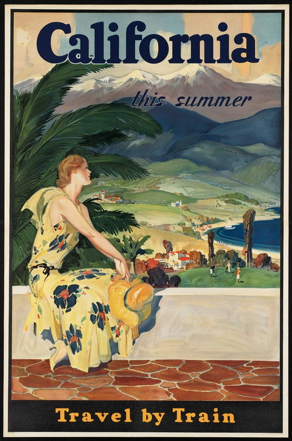 Taking an early holiday Vintage Railway Travel  Poster reproduction