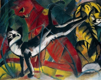 Three Cats by Franz Marc Home Decor Wall Decor Giclee Art Print Poster A4 A3 A2 Large Print FLAT RATE SHIPPING
