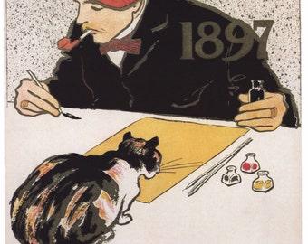 Vintage Art Nouveau Poster Calendar Edward Penfield Home Decor Wall Decor Giclee Art Print Poster A4 A3 A2 Large Print FLAT RATE SHIPPING