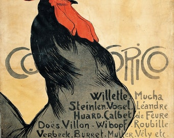 Cocorico by Théophile-Alexandre Steinlen Home Decor Wall Decor Giclee Art Print Poster A4 A3 A2 Large Print FLAT RATE SHIPPING