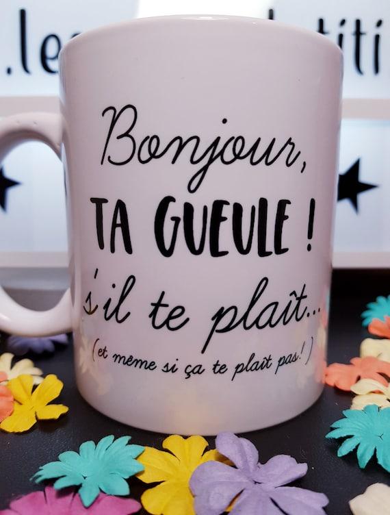 Mug French Quote Hello Shut Up Please In White Ceramic Humorous Gift Humor Mug Mug Shut Up Mug Shut Up Please