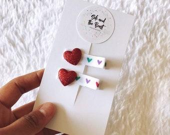 Rainbow Heart Clip Set
