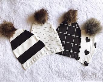 PRE-ORDER Organic Knit Cotton Faux Fur Pom Beanie